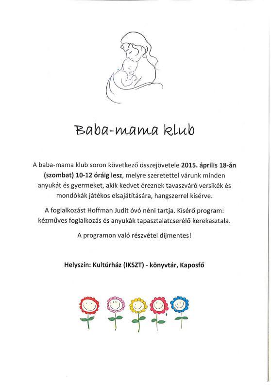 873dd46979 Baba Mama Klub - Hírek - IKSZT - Kaposfő Községi Önkormányzat
